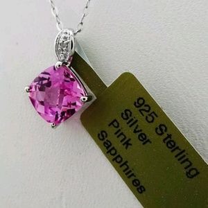 1.67ctw GENUINE PINK SAPPHIRE AND DIAMOND NECKLACE